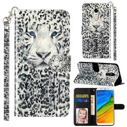 White Leopard 3D Leather Phone Holster Wallet Case for Mi Xiaomi Redmi 5 Plus