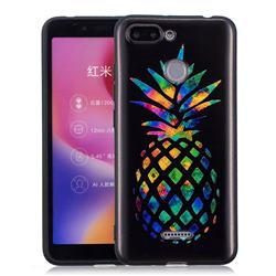 Colorful Pineapple 3D Embossed Relief Black Soft Back Cover for Mi Xiaomi Redmi 6