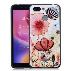 Pink Flower 3D Embossed Relief Black Soft Back Cover for Mi Xiaomi Redmi 6