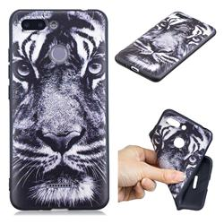 White Tiger 3D Embossed Relief Black TPU Cell Phone Back Cover for Mi Xiaomi Redmi 6