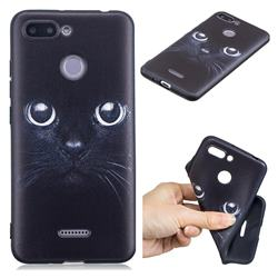 Bearded Feline 3D Embossed Relief Black TPU Cell Phone Back Cover for Mi Xiaomi Redmi 6