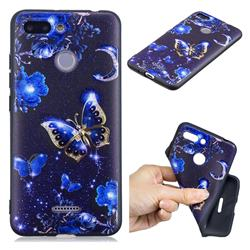 Phnom Penh Butterfly 3D Embossed Relief Black TPU Cell Phone Back Cover for Mi Xiaomi Redmi 6
