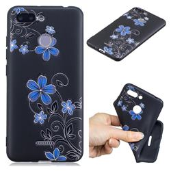 Little Blue Flowers 3D Embossed Relief Black TPU Cell Phone Back Cover for Mi Xiaomi Redmi 6