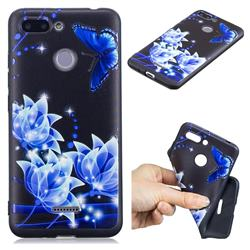 Blue Butterfly 3D Embossed Relief Black TPU Cell Phone Back Cover for Mi Xiaomi Redmi 6