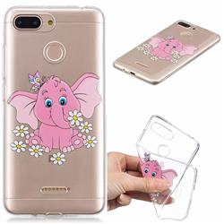 Tiny Pink Elephant Clear Varnish Soft Phone Back Cover for Mi Xiaomi Redmi 6