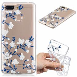 Magnolia Flower Clear Varnish Soft Phone Back Cover for Mi Xiaomi Redmi 6