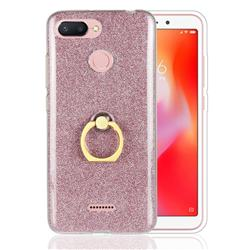 Luxury Soft TPU Glitter Back Ring Cover with 360 Rotate Finger Holder Buckle for Mi Xiaomi Redmi 6 - Pink