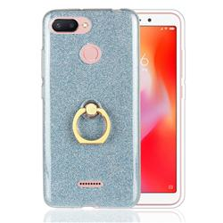 Luxury Soft TPU Glitter Back Ring Cover with 360 Rotate Finger Holder Buckle for Mi Xiaomi Redmi 6 - Blue