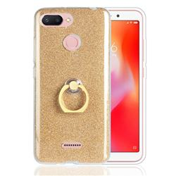 Luxury Soft TPU Glitter Back Ring Cover with 360 Rotate Finger Holder Buckle for Mi Xiaomi Redmi 6 - Golden