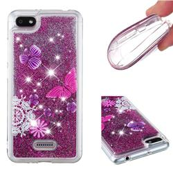 Purple Flower Butterfly Dynamic Liquid Glitter Quicksand Soft TPU Case for Mi Xiaomi Redmi 6