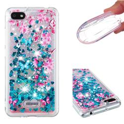 Blue Plum Blossom Dynamic Liquid Glitter Quicksand Soft TPU Case for Mi Xiaomi Redmi 6