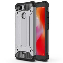 King Kong Armor Premium Shockproof Dual Layer Rugged Hard Cover for Mi Xiaomi Redmi 6 - Silver Grey