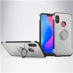 Armor Anti Drop Carbon PC + Silicon Invisible Ring Holder Phone Case for Mi Xiaomi Redmi 6 - Silver