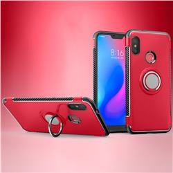 Armor Anti Drop Carbon PC + Silicon Invisible Ring Holder Phone Case for Mi Xiaomi Redmi 6 - Red