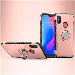 Armor Anti Drop Carbon PC + Silicon Invisible Ring Holder Phone Case for Mi Xiaomi Redmi 6 - Rose Gold