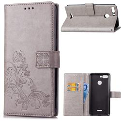 Embossing Imprint Four-Leaf Clover Leather Wallet Case for Mi Xiaomi Redmi 6 - Grey