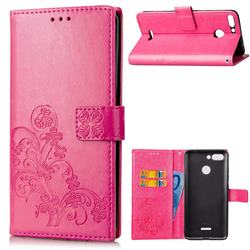 Embossing Imprint Four-Leaf Clover Leather Wallet Case for Mi Xiaomi Redmi 6 - Rose