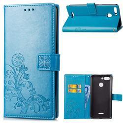 Embossing Imprint Four-Leaf Clover Leather Wallet Case for Mi Xiaomi Redmi 6 - Blue