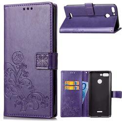 Embossing Imprint Four-Leaf Clover Leather Wallet Case for Mi Xiaomi Redmi 6 - Purple