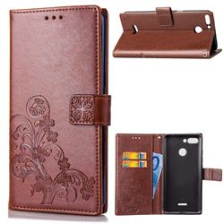 Embossing Imprint Four-Leaf Clover Leather Wallet Case for Mi Xiaomi Redmi 6 - Brown