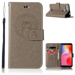 Intricate Embossing Owl Campanula Leather Wallet Case for Mi Xiaomi Redmi 6 - Grey