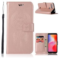 Intricate Embossing Owl Campanula Leather Wallet Case for Mi Xiaomi Redmi 6 - Rose Gold