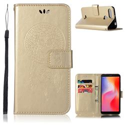 Intricate Embossing Owl Campanula Leather Wallet Case for Mi Xiaomi Redmi 6 - Champagne