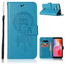 Intricate Embossing Owl Campanula Leather Wallet Case for Mi Xiaomi Redmi 6 - Blue