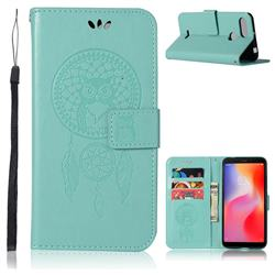 Intricate Embossing Owl Campanula Leather Wallet Case for Mi Xiaomi Redmi 6 - Green