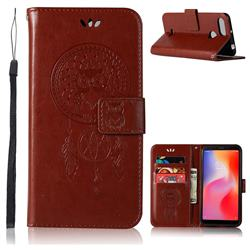 Intricate Embossing Owl Campanula Leather Wallet Case for Mi Xiaomi Redmi 6 - Brown