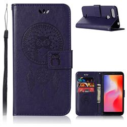 Intricate Embossing Owl Campanula Leather Wallet Case for Mi Xiaomi Redmi 6 - Purple