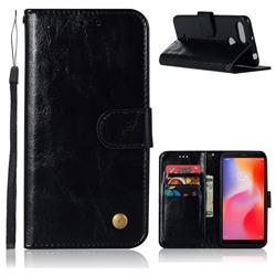Luxury Retro Leather Wallet Case for Mi Xiaomi Redmi 6 - Black