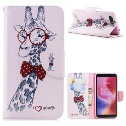 Glasses Giraffe Leather Wallet Case for Mi Xiaomi Redmi 6