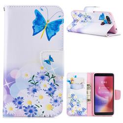 Butterflies Flowers Leather Wallet Case for Mi Xiaomi Redmi 6