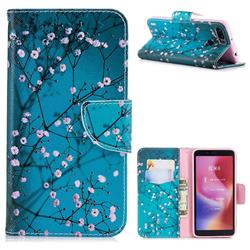 Blue Plum Leather Wallet Case for Mi Xiaomi Redmi 6