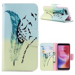 Feather Bird Leather Wallet Case for Mi Xiaomi Redmi 6