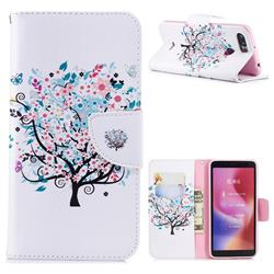Colorful Tree Leather Wallet Case for Mi Xiaomi Redmi 6