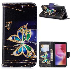 Golden Shining Butterfly Leather Wallet Case for Mi Xiaomi Redmi 6
