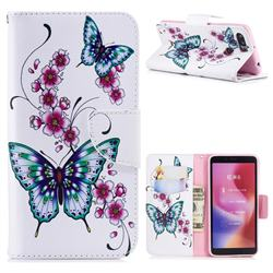 Peach Butterflies Leather Wallet Case for Mi Xiaomi Redmi 6
