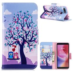 Tree and Owls Leather Wallet Case for Mi Xiaomi Redmi 6