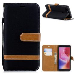 Jeans Cowboy Denim Leather Wallet Case for Mi Xiaomi Redmi 6 - Black