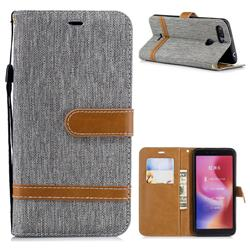 Jeans Cowboy Denim Leather Wallet Case for Mi Xiaomi Redmi 6 - Gray
