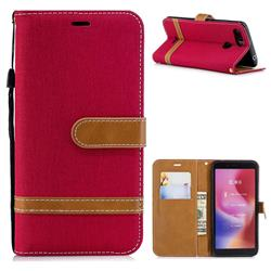 Jeans Cowboy Denim Leather Wallet Case for Mi Xiaomi Redmi 6 - Red