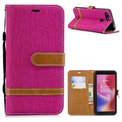 Jeans Cowboy Denim Leather Wallet Case for Mi Xiaomi Redmi 6 - Rose