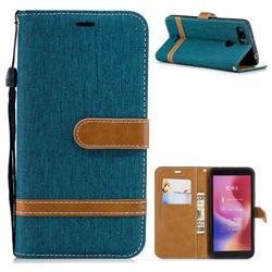 Jeans Cowboy Denim Leather Wallet Case for Mi Xiaomi Redmi 6 - Green