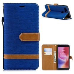 Jeans Cowboy Denim Leather Wallet Case for Mi Xiaomi Redmi 6 - Sapphire