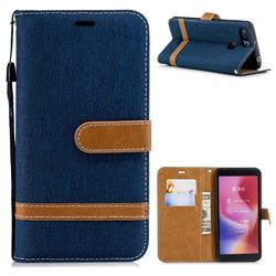 Jeans Cowboy Denim Leather Wallet Case for Mi Xiaomi Redmi 6 - Dark Blue