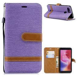 Jeans Cowboy Denim Leather Wallet Case for Mi Xiaomi Redmi 6 - Purple