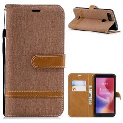 Jeans Cowboy Denim Leather Wallet Case for Mi Xiaomi Redmi 6 - Brown