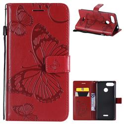 Embossing 3D Butterfly Leather Wallet Case for Mi Xiaomi Redmi 6 - Red